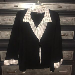 Notations black cardigan with sowed in top